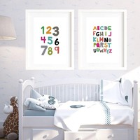 colourful Alphabets Posters and Prints nursery room decals cartoon funny number Wall Art Pictures for Kids Baby Room Home Decor