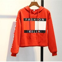Harajuku Crop Tops Women 2017 Fashion Short Crop Sweatshirt Long Sleeve Women's Hoodie  Spring Autumn Womens Crop Hoodie GZ1619