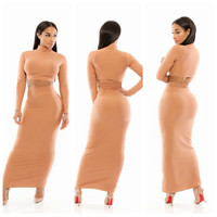 Beige Long Sleeve Cropped Top and Bodycon Maxi Skirt