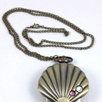 Necklace - Mermaid Treasure Seashell Pocket Watch Necklace