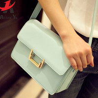 Casual with Metal Lock Leather Messenger Bag