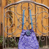 Purple Swirl Drawstring Belt Pouch Purse with Handmade Ceramic Button
