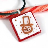 Frosty Snowman Pendant, Fused Glass Christmas Jewelry, Red and White