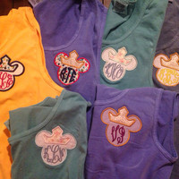 Monogram Disney Comfort Colors Applique Tank with Minnie Bow or Princess Crown F