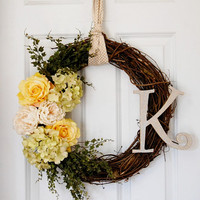 Personalized Pastel Wreath, Front Door Wreath, French Country Wreath, Spring Summer Wreath, Hydrangea, Rose, Initial Wreath
