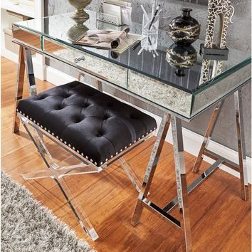 Neron 1-Drawer Mirrored Chrome Sawhorse Desk by iNSPIRE Q Bold | Overstock.com Shopping - The Best Deals on Desks