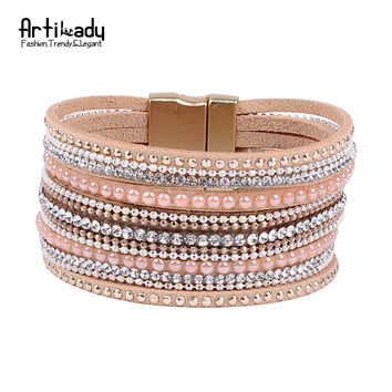 Natural crystal bracelet luxury exclusive design genuine leather statement bangles for women with magic closure jewelry
