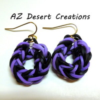 One Pair Purple and Black Rubber Band Earrings NON Latex Handmade