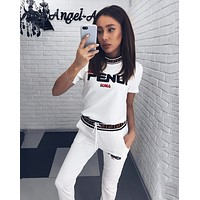 GUCCI Summer Fashionable Women Casual Short Sleeve Top Pants Two-Piece White