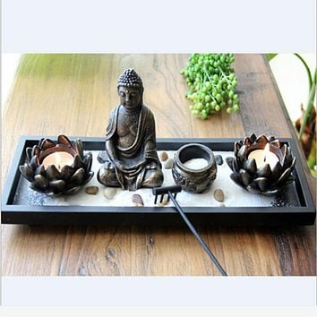 Modern Style of Decorative Buddha Candle Holder With Incense Stick Holder
