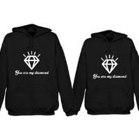 365 In Love His and Her Matching Hooded Sweatshirts You Are My Diamond Couples Hoodies