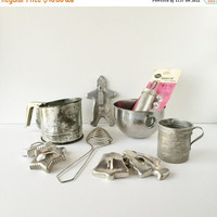 ON SALE Vintage Bakeware, Christmas Baking Cookie Cutters Mixing Bowl Measuring Cup Bromco Sifter Egg Separator Mirro Cake Decorator Set