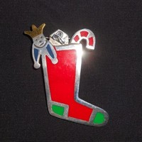 Anne Harvey Brooch Mexico Sterling Enamel Christmas Stocking Pin 925 Holiday Jewelry