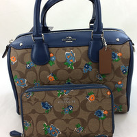 New Authentic Coach F57534 Mini Bennett Satchel Shoulder Bag Floral Logo Print in Blue Multi+Wallet Set