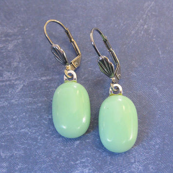 Dangle Mint Green Leverback Earrings, Drop Style Leverbacks, Gift for Her, Fashion Jewelry, Silver Plated Leverback - Randi - 276 -4