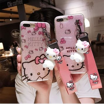 For Huawei P20 Kitty Case, bling Hello Kitty Cover for Huawei P20 pro / p20 lite ( nova 3E ) phone cover + kt stander +Strap