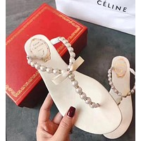 Rene Caovilla Summer Popular Women Pearl Sandals Slippers Shoes White