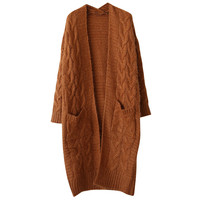 Cable Ribbed Open Front Cardigan