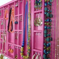 Hot pink Jewelry display Organizer storage - silver hooks - Earrings , necklaces, bracelets holder - Wall mounted - Handmade