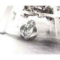Gucci new sterling silver double G love flower and bird eyes couple ring retro ring