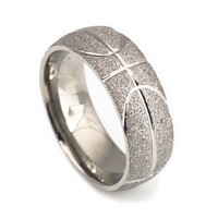 Basketball Pattern Titanium Band For Men 8mm wide