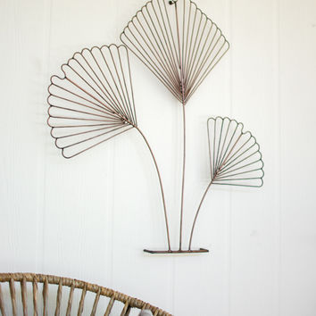 Wire Ginkgo Leaves Wall Sculpture - Copper Finish