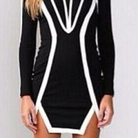 Black and White Long Sleeve Asymmetrical Dress