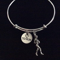 Love to Run Silver Expandable Adjustable Bracelet Bangle Silver Wire Bangle Runner Charm