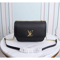 LV Louis Vuitton WOMEN'S LEATHER LOCKME INCLINED SHOULDER BAG