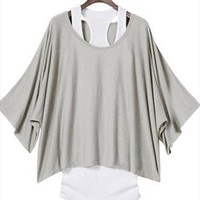 L 071304 Fashion, bat sleeve, loose big yards T-shirt-1 from cassie2013