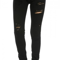 Classic Destructed Skinny Jeans in Black (Plus Sizes Available)