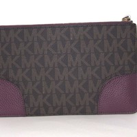 Michael Kors Hattie Large Clutch Wristlet Brown & Plum PVC Signature NWT $128