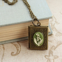 Lily of the Valley Book Locket Necklace Antique by apocketofposies