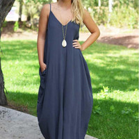 Spaghetti Strap V-Neck Maxi Dress
