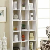 White finish wood bookshelf with 15 compartments and wavy front design