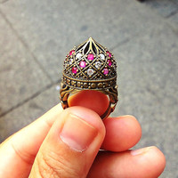 Ottoman Harem Inspired Brass Ring with Jade and Zirconia