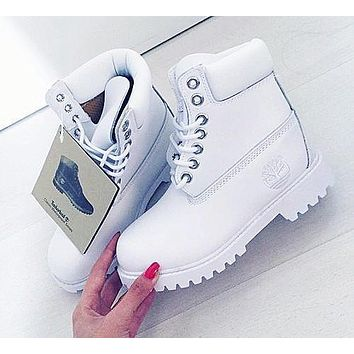 mieniwe Timberland Rhubarb boots for men and women shoes waterproof Martin boots lovers Pure white