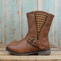 Hot to Trot Tan Studded Cut Off Boots