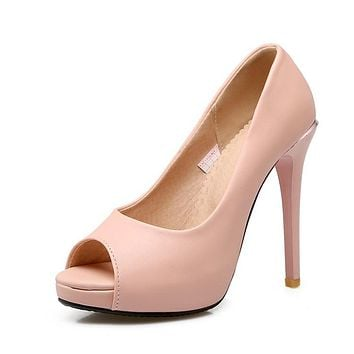 Women's Sexy Fish Mouth Stiletto Heel Platform Pumps
