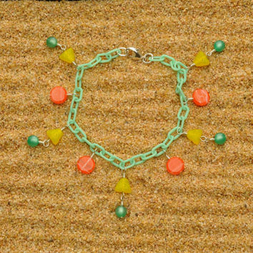 Mint Green Bracelet with Pyramids