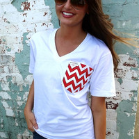 Classic White Tee w/Chevron Pocket | The Rage