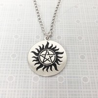 Sun and Pentagram Necklace, inspired by supernatural anti-possession