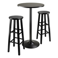 """3 Piece Round Black Pub Table with 2 29"""" Wood Stool Square Legs"""