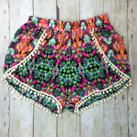 Islands of Adventure Floral Pom Pom Shorts