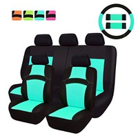 NEW ARRIVAL- CAR PASS RAINBOW Universal Fit Car Seat Cover -100% Breathable With 5mm Composite Sponge Inside,Airbag Compatible(14PCS, Mint Blue)