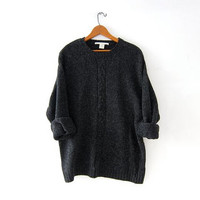 vintage dark gray wool sweater. slouchy knit pullover. cable knit sweater.