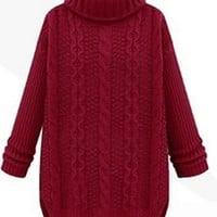 By The Fire Burgundy Wine Long Sleeve Turtleneck Chunky Cable Pullover Sweater