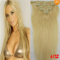"""US Stock 100% Human Hair Extensions High Quality Straight 15""""18""""20""""22""""24""""26""""28"""" Clip In 7pcs/ set Free Shipping"""