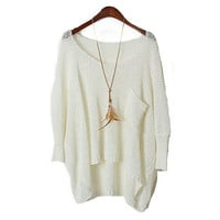 Asymmetrical Sleeve Pocket Knitted Sweater