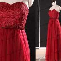Sweetheart Floral Lace Sheer Red Strapless Bow Belt Tulle Floor Length Long Evening Gown,Gown Ball,Evening Dress,Prom dress for Girl